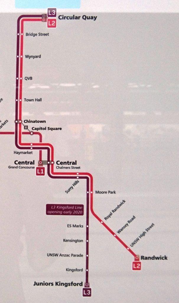 シドニーのライトレール路線図